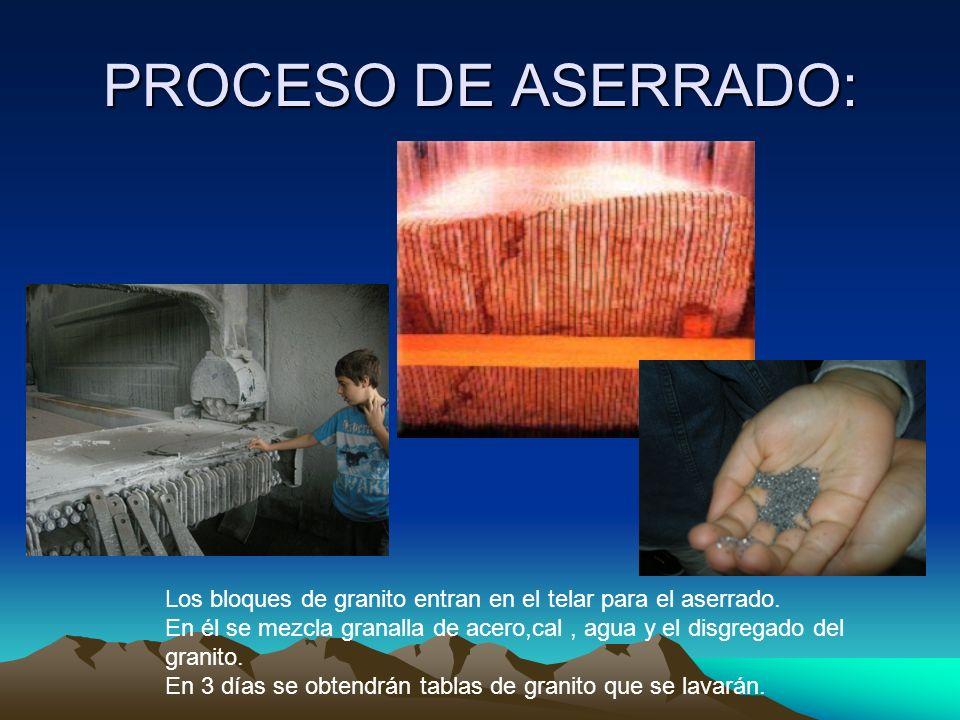 PROCESO DE ASERRADO: Los bloques de granito entran en el telar para el aserrado. En él se mezcla granalla de acero,cal, agua y el disgregado del grani