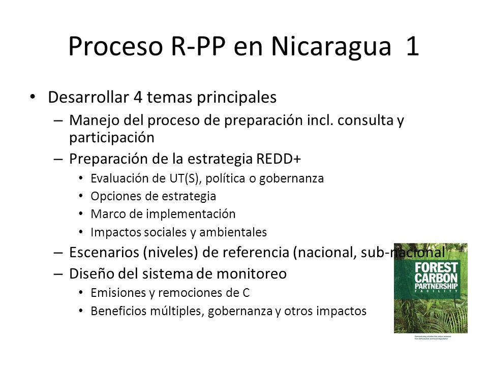 Proceso R-PP en Nicaragua 1 Desarrollar 4 temas principales – Manejo del proceso de preparación incl. consulta y participación – Preparación de la est