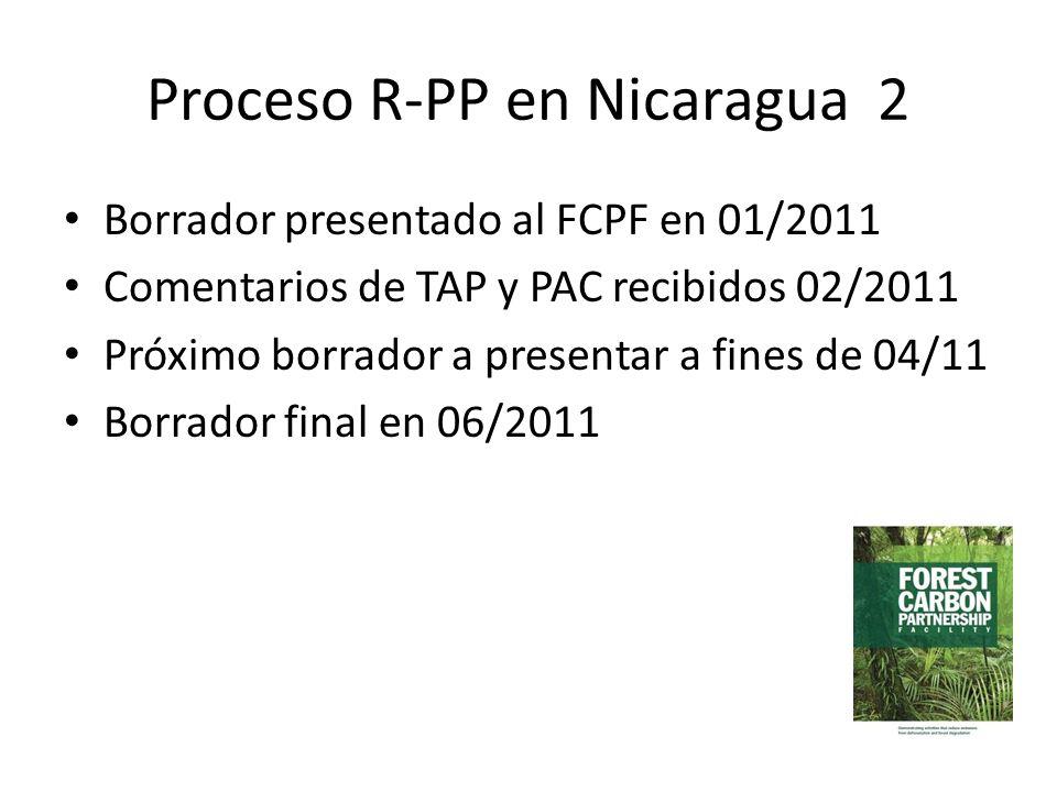 Proceso R-PP en Nicaragua 2 Borrador presentado al FCPF en 01/2011 Comentarios de TAP y PAC recibidos 02/2011 Próximo borrador a presentar a fines de