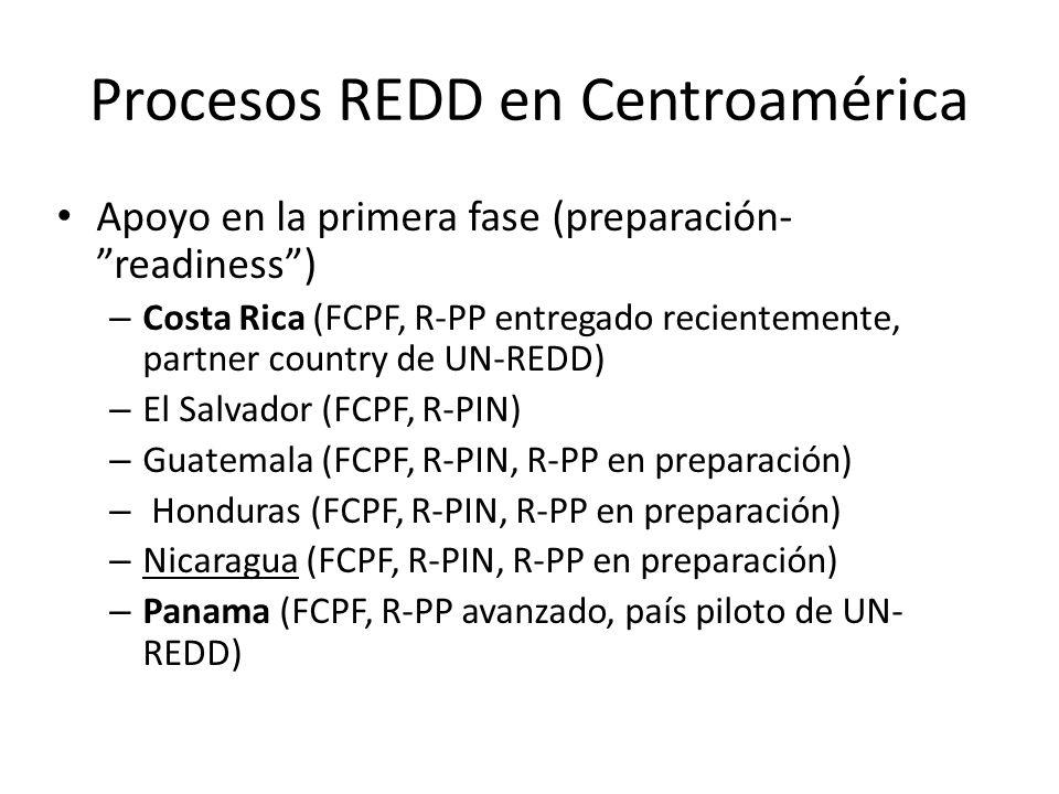 Procesos REDD en Centroamérica Apoyo en la primera fase (preparación- readiness) – Costa Rica (FCPF, R-PP entregado recientemente, partner country de