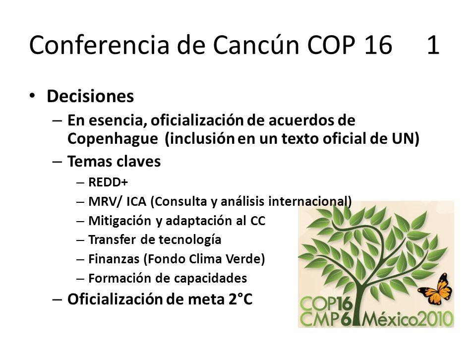 Conferencia de Cancún COP 16 1 Decisiones – En esencia, oficialización de acuerdos de Copenhague (inclusión en un texto oficial de UN) – Temas claves