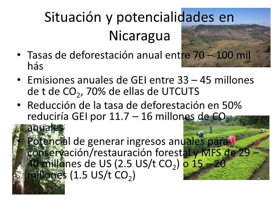 Situación y potencialidades en Nicaragua Tasas de deforestación anual entre 70 – 100 mil hás Emisiones anuales de GEI entre 33 – 45 millones de t de C