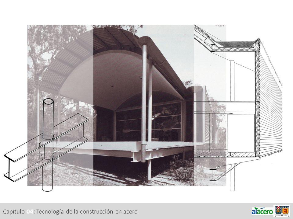 Capítulo 04: Tecnología de la construcción en acero 4.a.Tipos de acero 4.d.Aislamiento térmico 4.e.Fabricación, montaje, mantenimiento, desmontaje Diseño / tipo de acero / protección de la superficie Componentes expuestos y protegidos Accesibilidad a los componentes de la estructura Soldadura v/s uniones apernadas Estructuras constituidas con secciones huecas 4.f.Sustentabilidad4.c.
