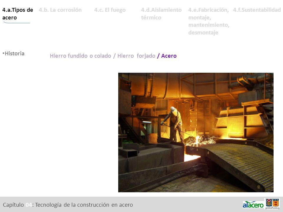 Capítulo 04: Tecnología de la construcción en acero 4.a.Tipos de acero tal. Historia Composición química. Estabilidad. 4.d.Aislamiento térmico 4.e.Fab
