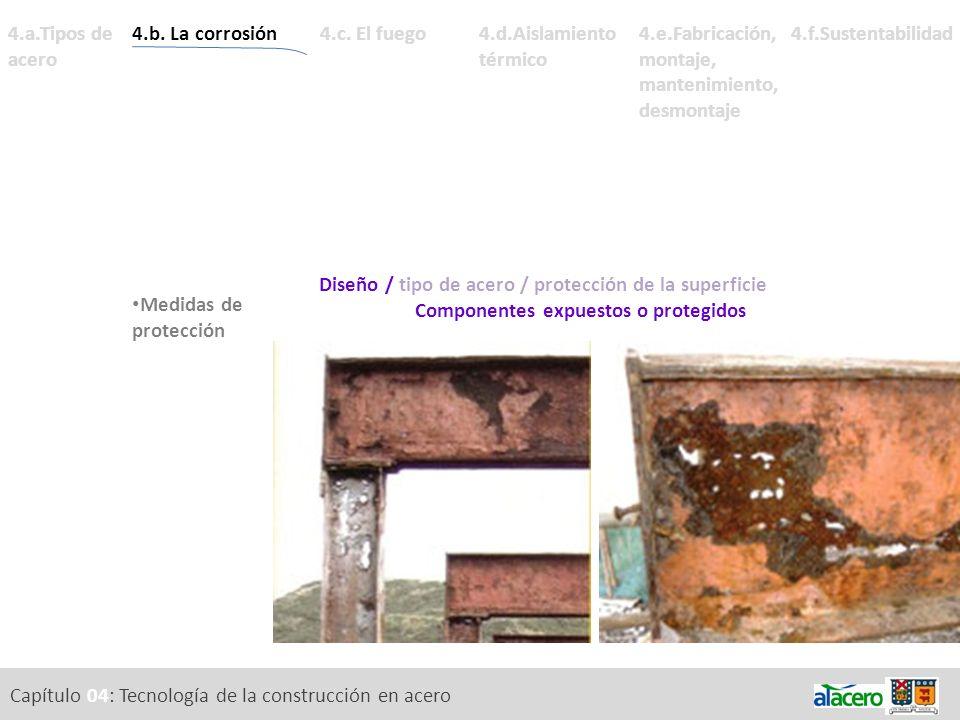 Capítulo 04: Tecnología de la construcción en acero 4.a.Tipos de acero Diseño / tipo de acero / protección de la superficie Componentes expuestos o pr