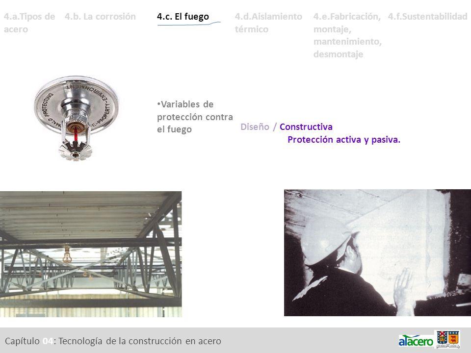Capítulo 04: Tecnología de la construcción en acero 4.a.Tipos de acero Diseño / Constructiva Protección activa y pasiva. 4.c. El fuego Acción del fueg