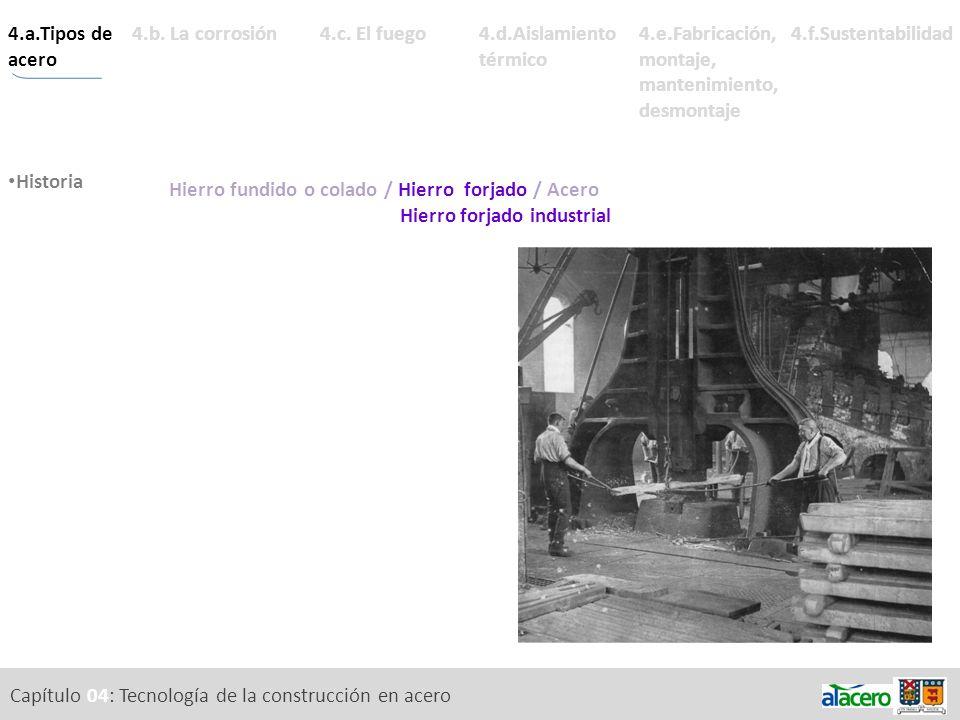 Capítulo 04: Tecnología de la construcción en acero 4.a.Tipos de acero Descripción Historia de los materiales férricos.