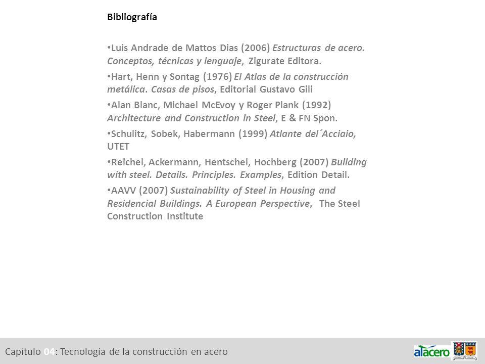 Capítulo 04: Tecnología de la construcción en acero Bibliografía Luis Andrade de Mattos Dias (2006) Estructuras de acero. Conceptos, técnicas y lengua