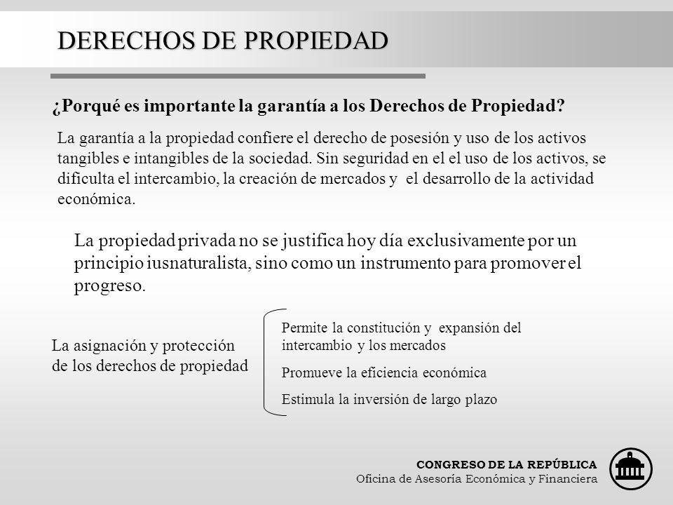 CONGRESO DE LA REPÚBLICA Oficina de Asesoría Económica y Financiera DERECHOS DE PROPIEDAD ¿Porqué es importante la garantía a los Derechos de Propieda