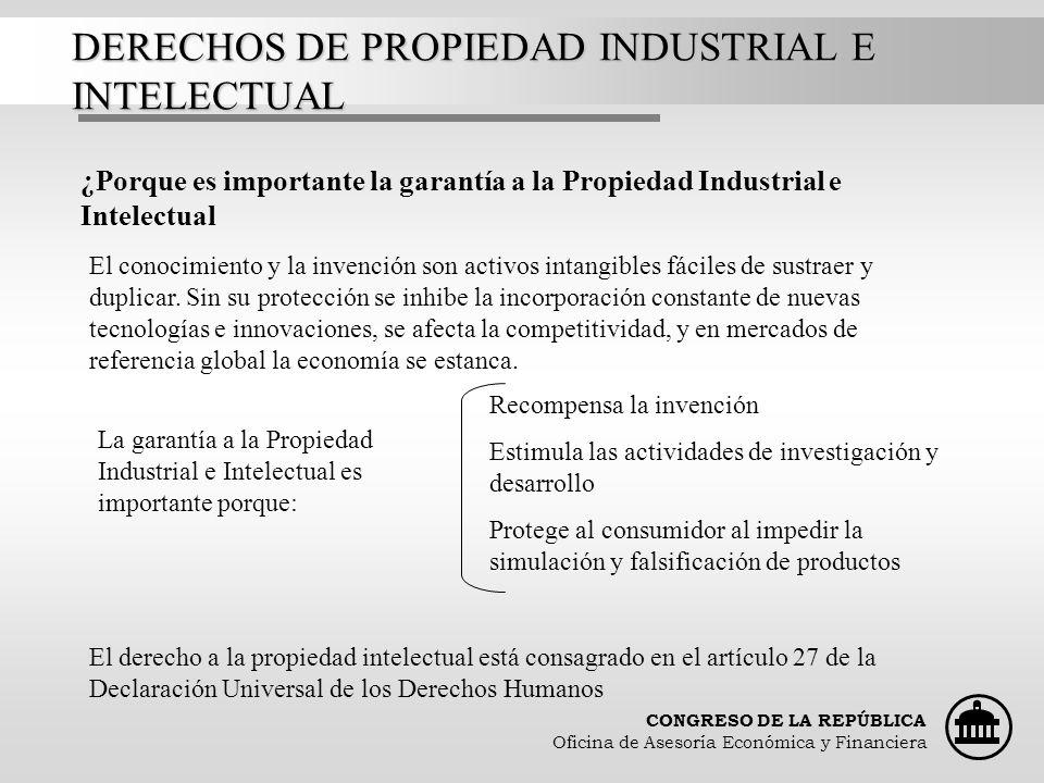 CONGRESO DE LA REPÚBLICA Oficina de Asesoría Económica y Financiera DERECHOS DE PROPIEDAD INDUSTRIAL E INTELECTUAL ¿Porque es importante la garantía a