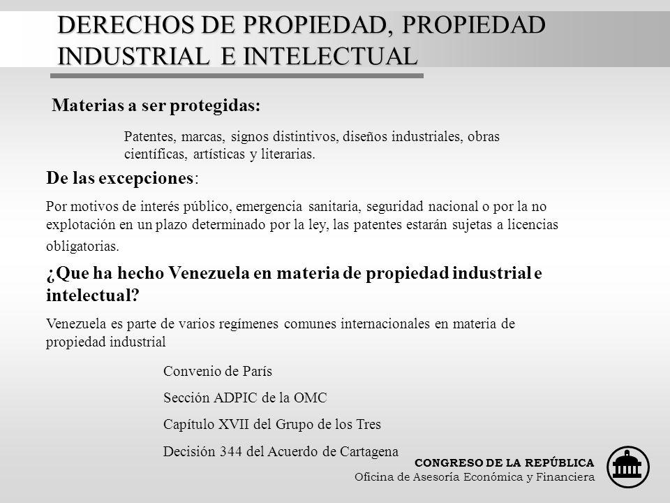 CONGRESO DE LA REPÚBLICA Oficina de Asesoría Económica y Financiera DERECHOS DE PROPIEDAD, PROPIEDAD INDUSTRIAL E INTELECTUAL Materias a ser protegida