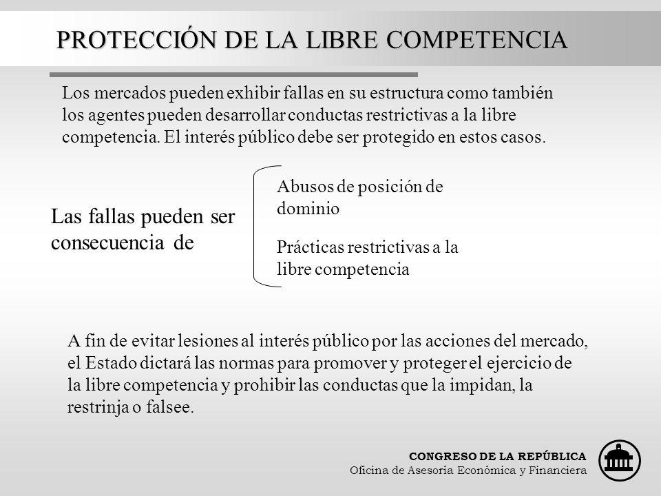 CONGRESO DE LA REPÚBLICA Oficina de Asesoría Económica y Financiera PROTECCIÓN DE LA LIBRE COMPETENCIA Los mercados pueden exhibir fallas en su estruc