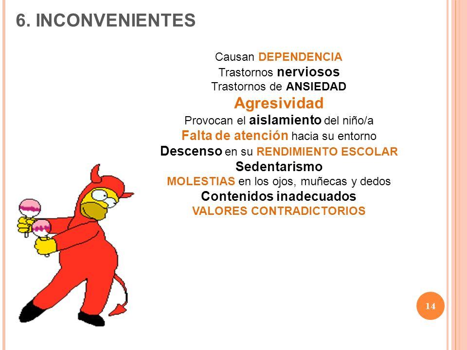 14 Causan DEPENDENCIA Trastornos nerviosos Trastornos de ANSIEDAD Agresividad Provocan el aislamiento del niño/a Falta de atención hacia su entorno De