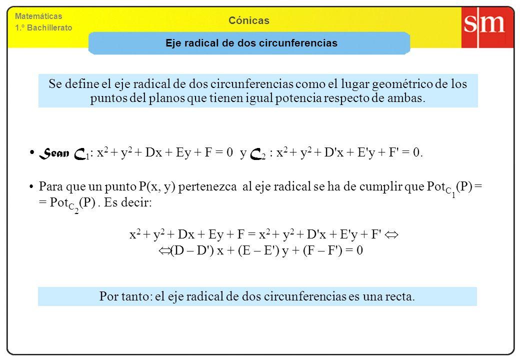 Matemáticas 1.º Bachillerato Cónicas Sean C 1 x 2 + y 2 + Dx + Ey + F = 0 y C 2 x 2 + y 2 + D'x + E'y + F' = 0. Para que un punto P(x, y) pertenezca a