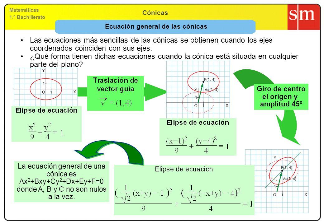 Matemáticas 1.º Bachillerato Cónicas Ecuación general de las cónicas Las ecuaciones más sencillas de las cónicas se obtienen cuando los ejes coordenad