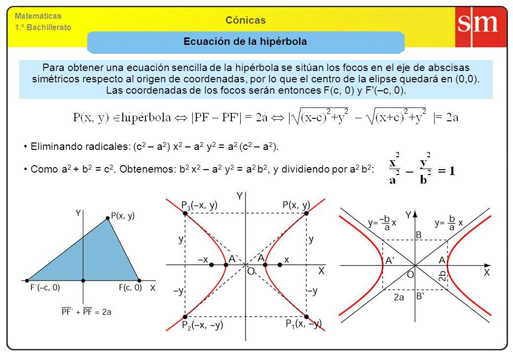 Matemáticas 1.º Bachillerato Cónicas Ecuación de la hipérbola Para obtener una ecuación sencilla de la hipérbola se sitúan los focos en el eje de absc