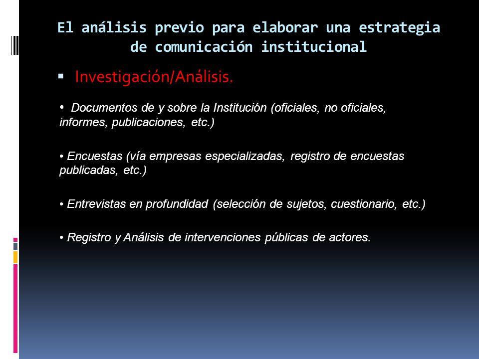 El análisis previo para elaborar una estrategia de comunicación institucional Investigación/Análisis. Documentos de y sobre la Institución (oficiales,