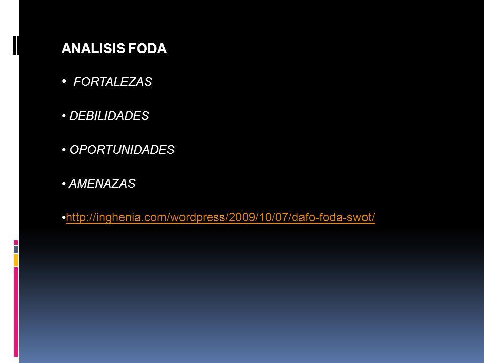 ANALISIS FODA FORTALEZAS DEBILIDADES OPORTUNIDADES AMENAZAS http://inghenia.com/wordpress/2009/10/07/dafo-foda-swot/