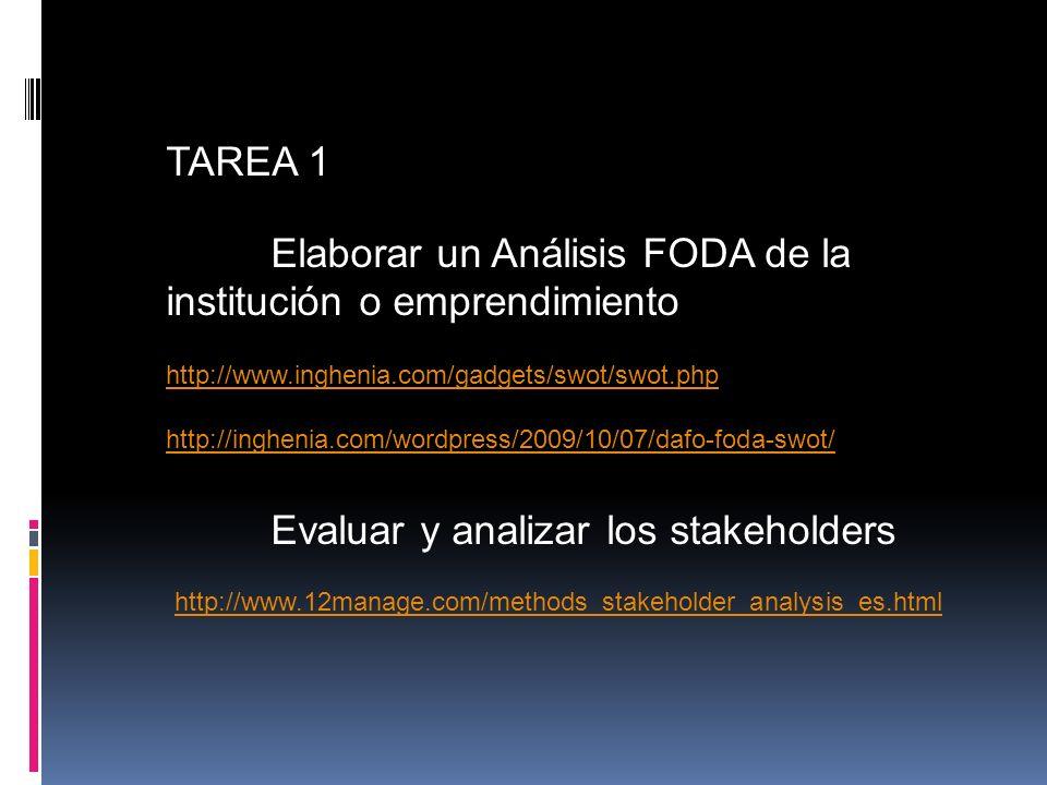 TAREA 1 Elaborar un Análisis FODA de la institución o emprendimiento http://www.inghenia.com/gadgets/swot/swot.php http://inghenia.com/wordpress/2009/