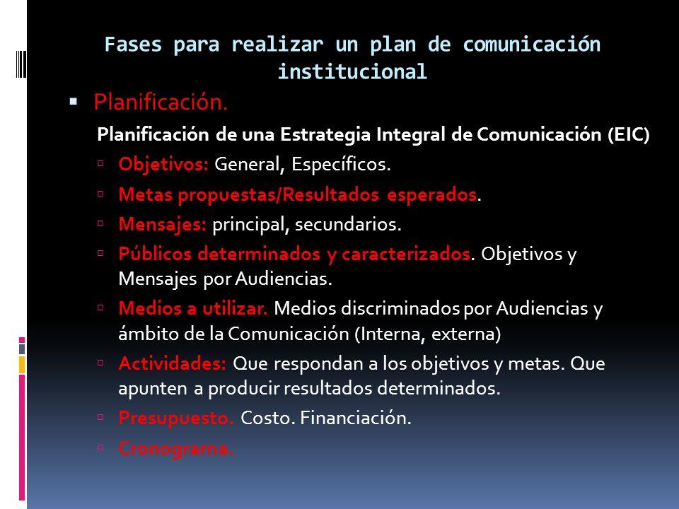 Fases para realizar un plan de comunicación institucional Planificación. Planificación de una Estrategia Integral de Comunicación (EIC) Objetivos: Gen