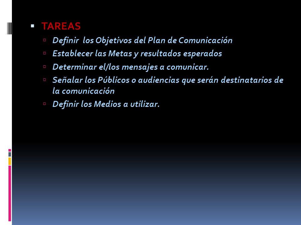 TAREAS Definir los Objetivos del Plan de Comunicación Establecer las Metas y resultados esperados Determinar el/los mensajes a comunicar. Señalar los
