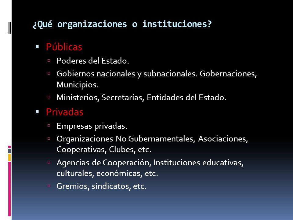 ¿Qué organizaciones o instituciones? Públicas Poderes del Estado. Gobiernos nacionales y subnacionales. Gobernaciones, Municipios. Ministerios, Secret