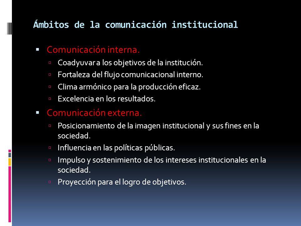 Ámbitos de la comunicación institucional Comunicación interna. Coadyuvar a los objetivos de la institución. Fortaleza del flujo comunicacional interno
