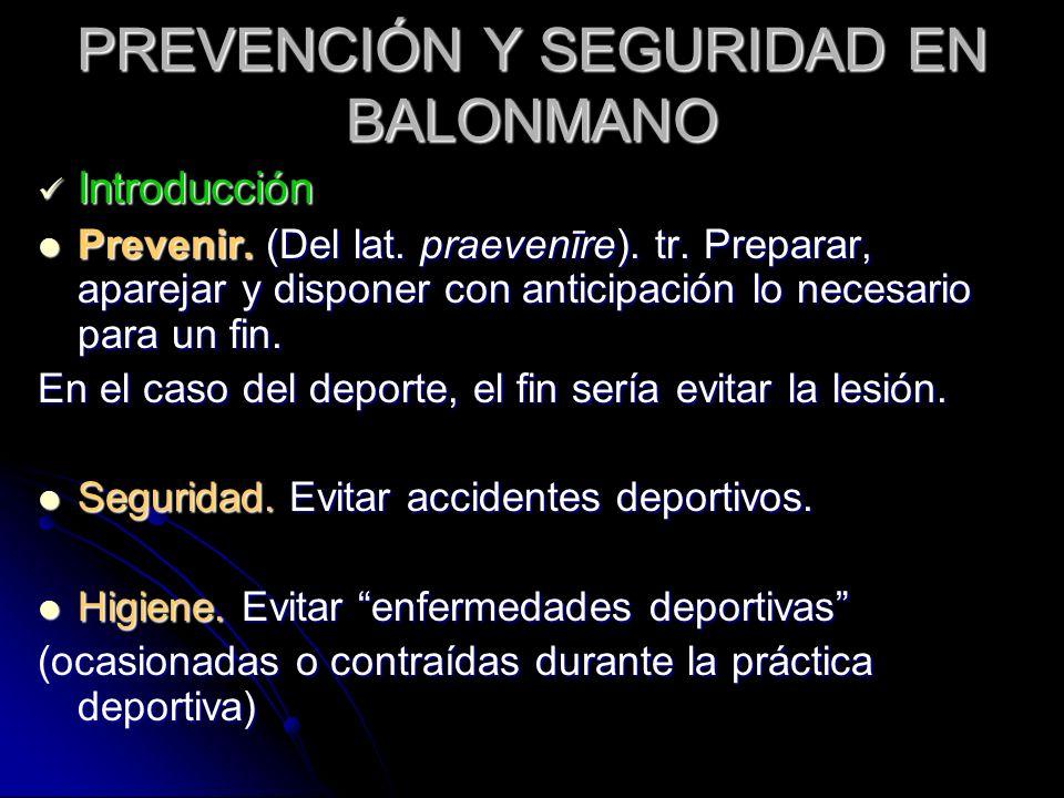 PREVENCIÓN Y SEGURIDAD EN BALONMANO Introducción Introducción Prevenir. (Del lat. praevenīre). tr. Preparar, aparejar y disponer con anticipación lo n