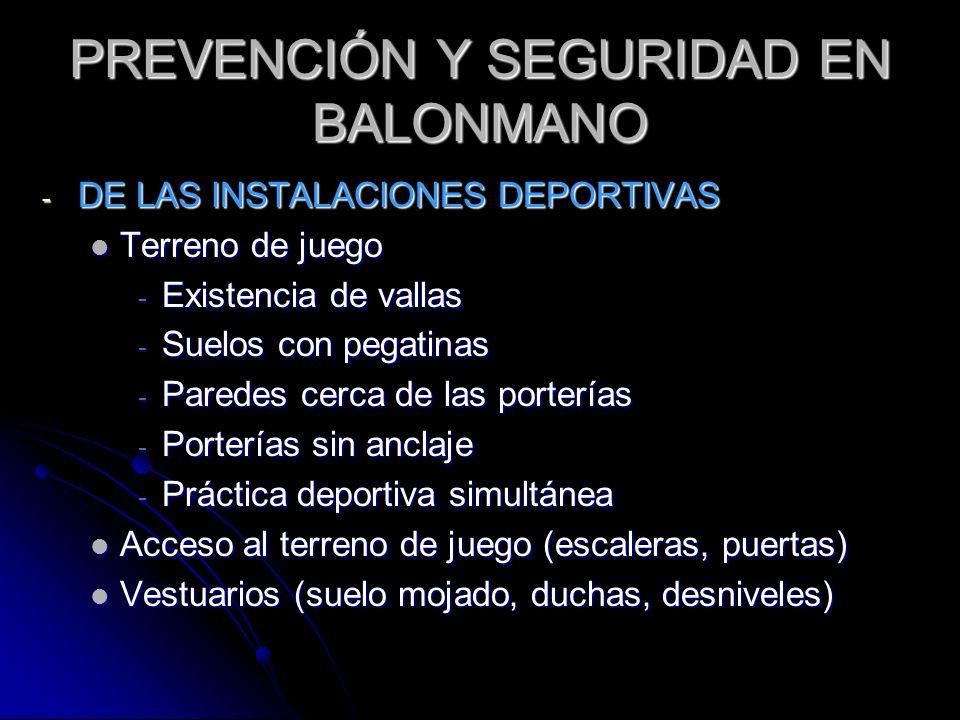 PREVENCIÓN Y SEGURIDAD EN BALONMANO - DE LAS INSTALACIONES DEPORTIVAS Terreno de juego Terreno de juego - Existencia de vallas - Suelos con pegatinas