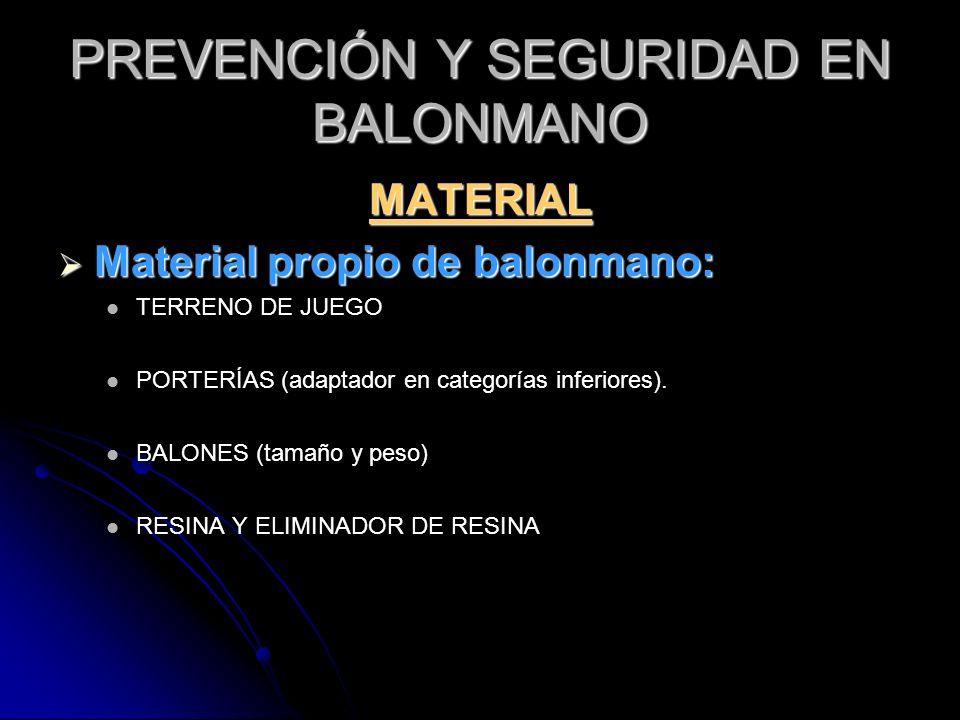 PREVENCIÓN Y SEGURIDAD EN BALONMANO MATERIAL Material propio de balonmano: Material propio de balonmano: TERRENO DE JUEGO PORTERÍAS (adaptador en cate