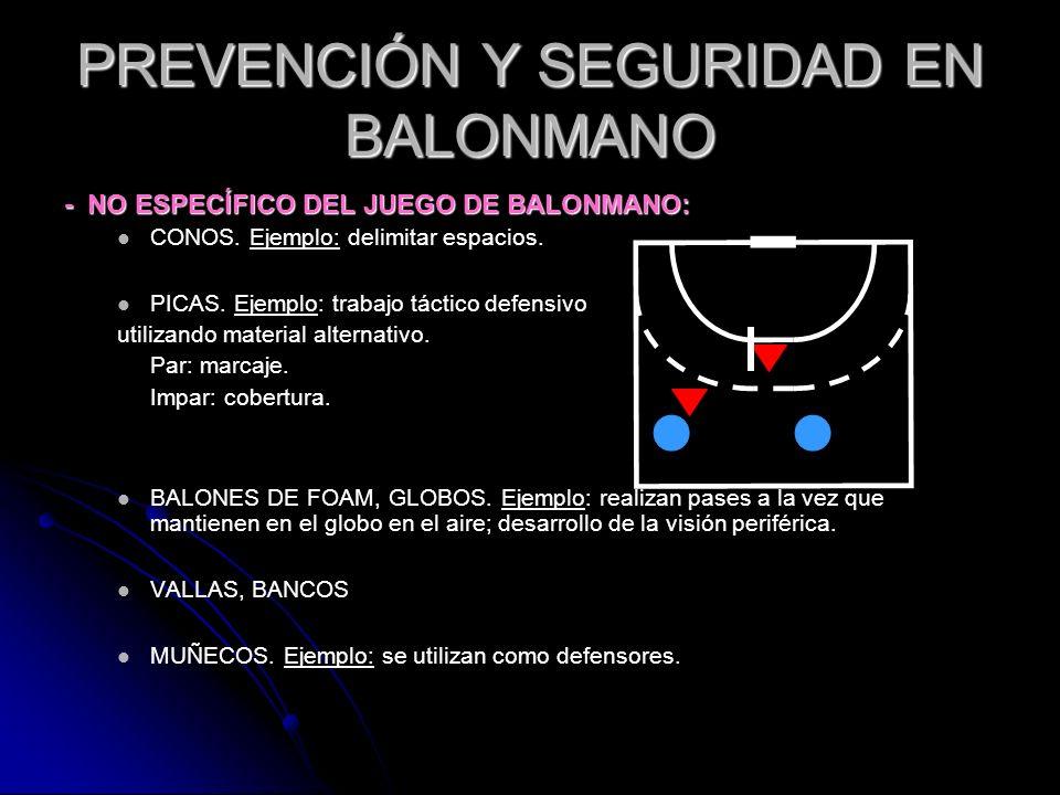 PREVENCIÓN Y SEGURIDAD EN BALONMANO - NO ESPECÍFICO DEL JUEGO DE BALONMANO: CONOS. Ejemplo: delimitar espacios. PICAS. Ejemplo: trabajo táctico defens
