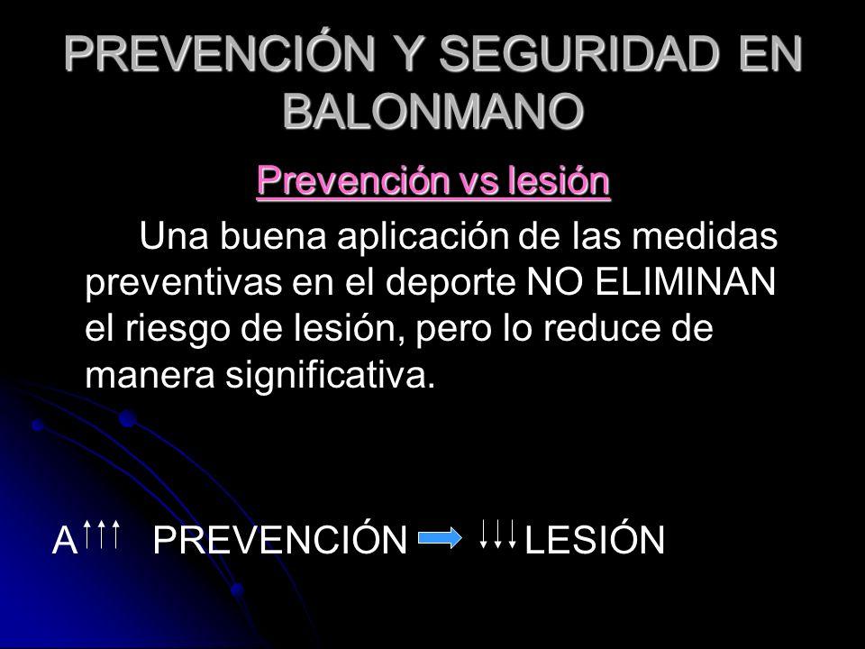 PREVENCIÓN Y SEGURIDAD EN BALONMANO Prevención vs lesión Una buena aplicación de las medidas preventivas en el deporte NO ELIMINAN el riesgo de lesión