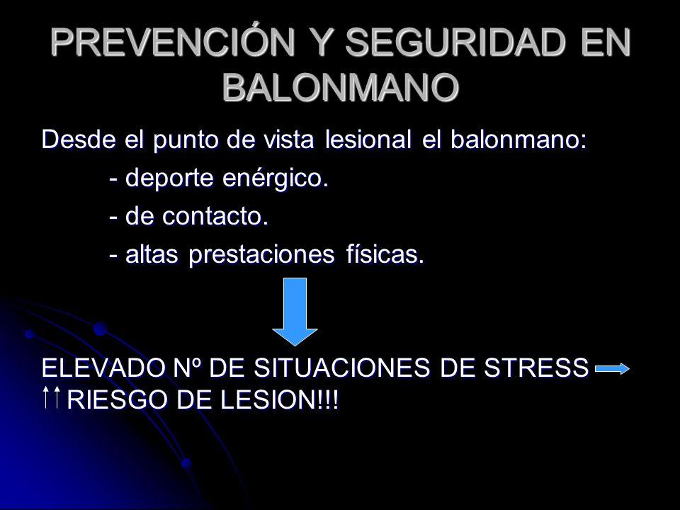 PREVENCIÓN Y SEGURIDAD EN BALONMANO Desde el punto de vista lesional el balonmano: - deporte enérgico. - de contacto. - altas prestaciones físicas. EL