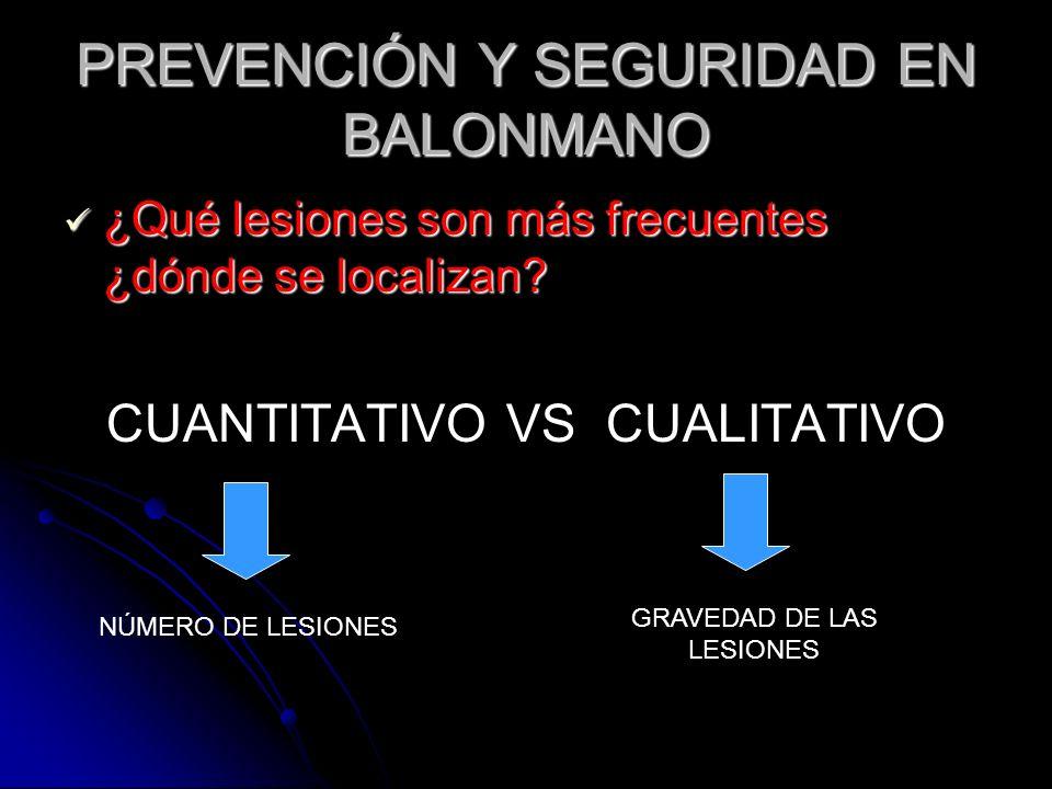 PREVENCIÓN Y SEGURIDAD EN BALONMANO ¿Qué lesiones son más frecuentes ¿dónde se localizan? CUANTITATIVO VS CUALITATIVO NÚMERO DE LESIONES GRAVEDAD DE L