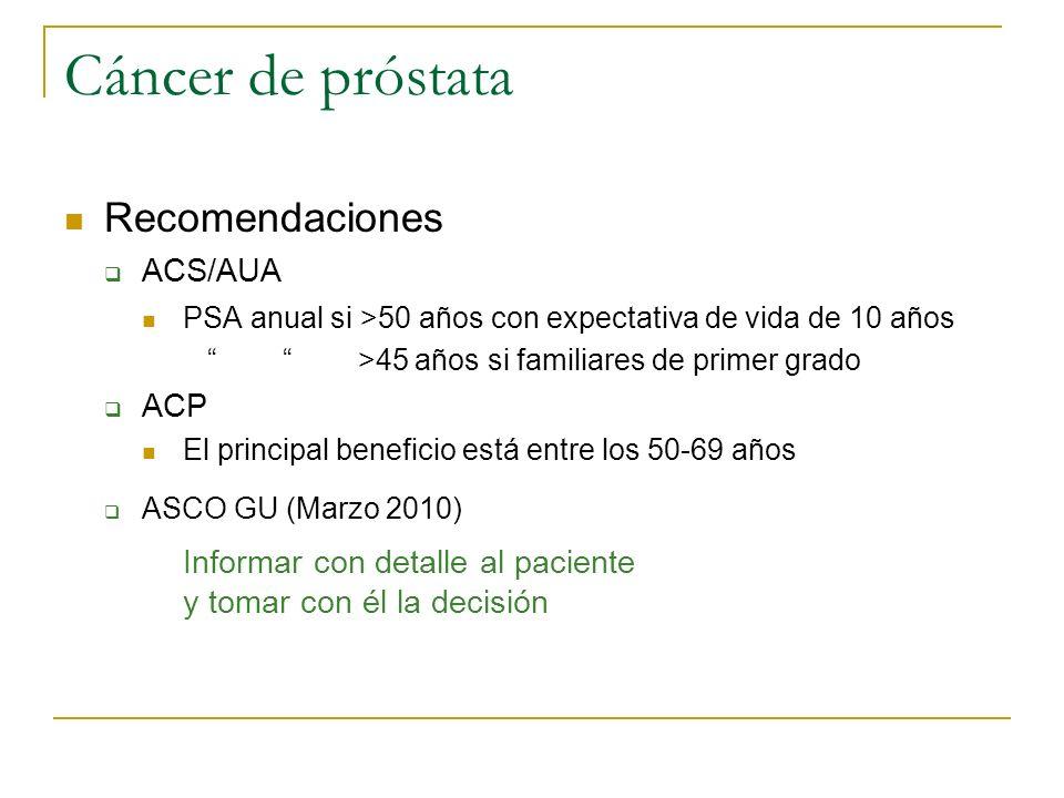 Cáncer de próstata Recomendaciones ACS/AUA PSA anual si >50 años con expectativa de vida de 10 años >45 años si familiares de primer grado ACP El prin