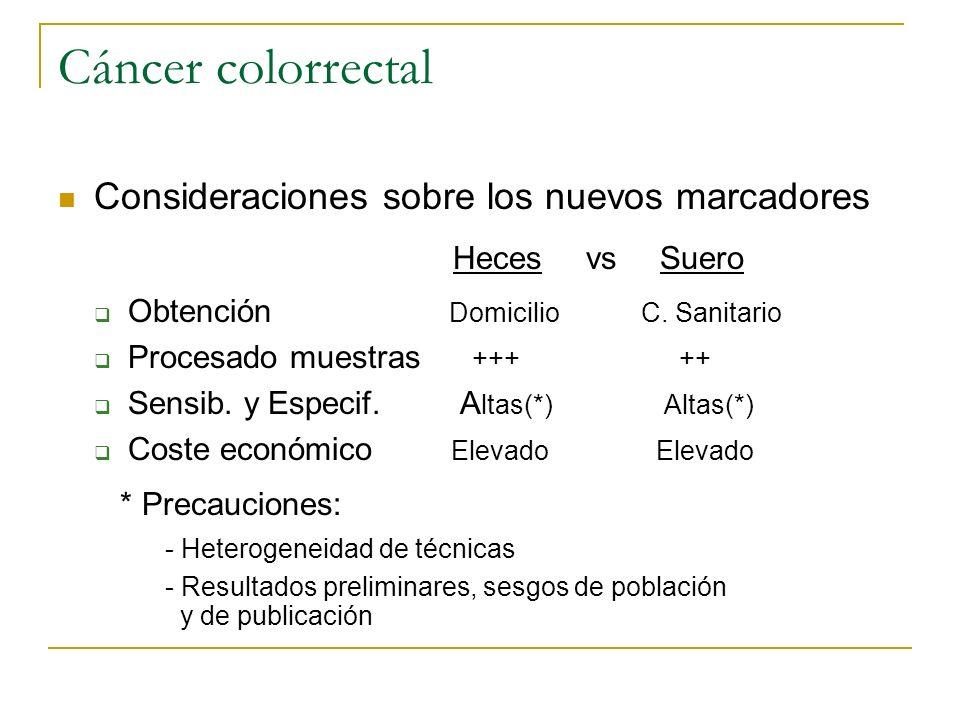 Cáncer colorrectal Consideraciones sobre los nuevos marcadores Heces vs Suero Obtención Domicilio C. Sanitario Procesado muestras +++ ++ Sensib. y Esp