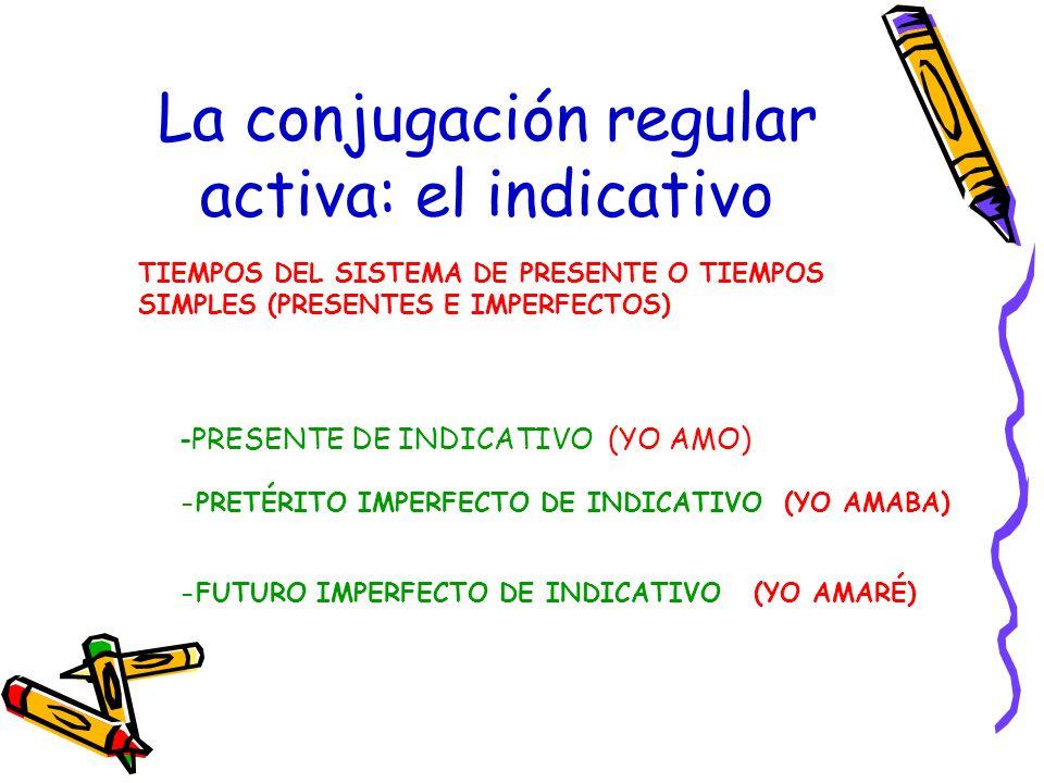 -PRESENTE DE INDICATIVO (YO AMO) La conjugación regular activa: el indicativo -PRETÉRITO IMPERFECTO DE INDICATIVO (YO AMABA) -FUTURO IMPERFECTO DE IND