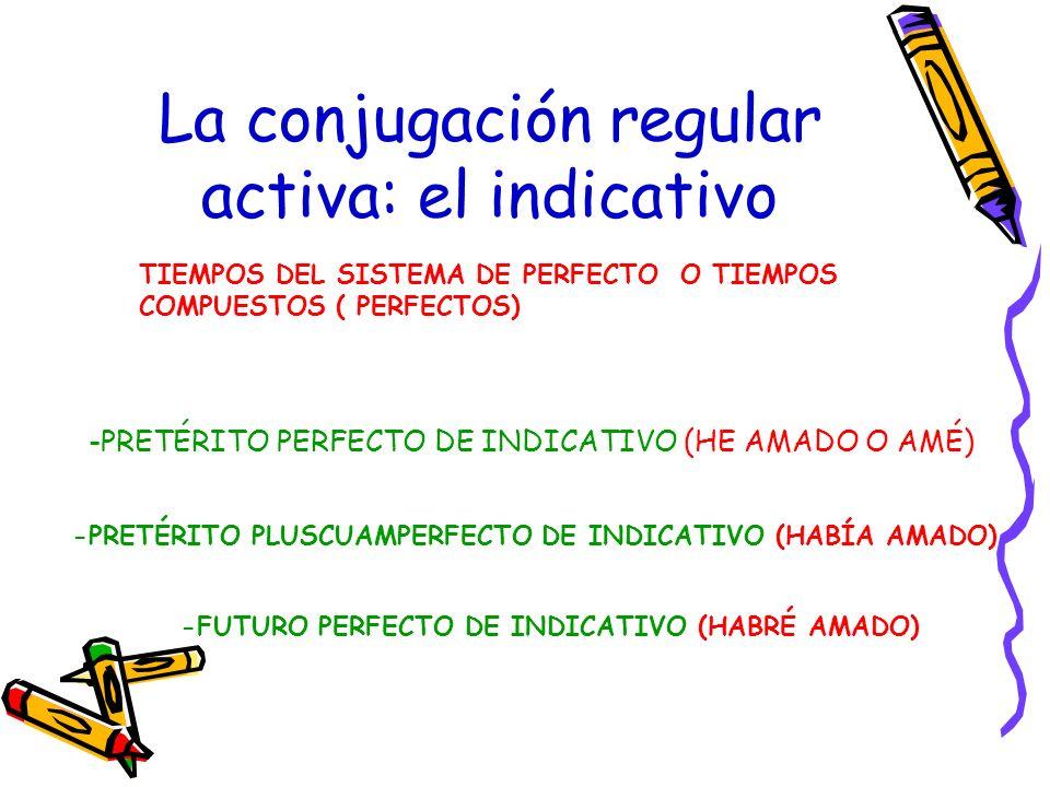 -PRETÉRITO PERFECTO DE INDICATIVO (HE AMADO O AMÉ) La conjugación regular activa: el indicativo -PRETÉRITO PLUSCUAMPERFECTO DE INDICATIVO (HABÍA AMADO