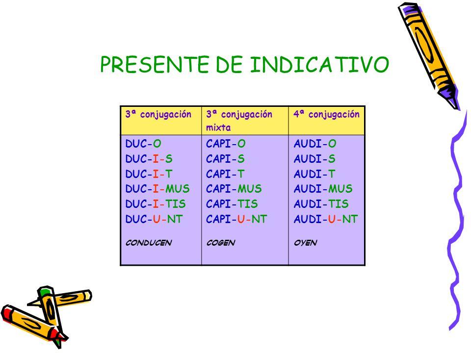 3ª conjugación mixta 4ª conjugación DUC-O DUC-I-S DUC-I-T DUC-I-MUS DUC-I-TIS DUC-U-NT CONDUCEN CAPI-O CAPI-S CAPI-T CAPI-MUS CAPI-TIS CAPI-U-NT COGEN