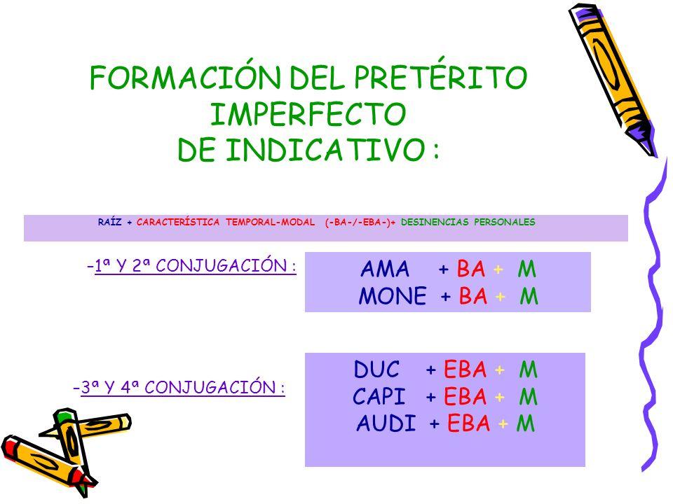 FORMACIÓN DEL PRETÉRITO IMPERFECTO DE INDICATIVO : RAÍZ + CARACTERÍSTICA TEMPORAL-MODAL (-BA-/-EBA-)+ DESINENCIAS PERSONALES AMA + BA + M MONE + BA +