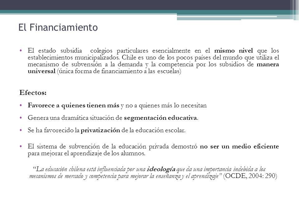 El estado subsidia colegios particulares esencialmente en el mismo nivel que los establecimientos municipalizados. Chile es uno de los pocos países de