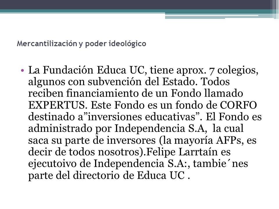 La Fundación Educa UC, tiene aprox. 7 colegios, algunos con subvención del Estado. Todos reciben financiamiento de un Fondo llamado EXPERTUS. Este Fon