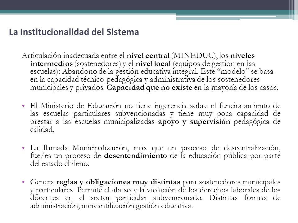 Articulación inadecuada entre el nivel central (MINEDUC), los niveles intermedios (sostenedores) y el nivel local (equipos de gestión en las escuelas)