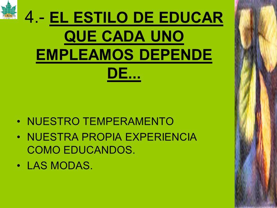 4.- EL ESTILO DE EDUCAR QUE CADA UNO EMPLEAMOS DEPENDE DE... NUESTRO TEMPERAMENTO NUESTRA PROPIA EXPERIENCIA COMO EDUCANDOS. LAS MODAS.