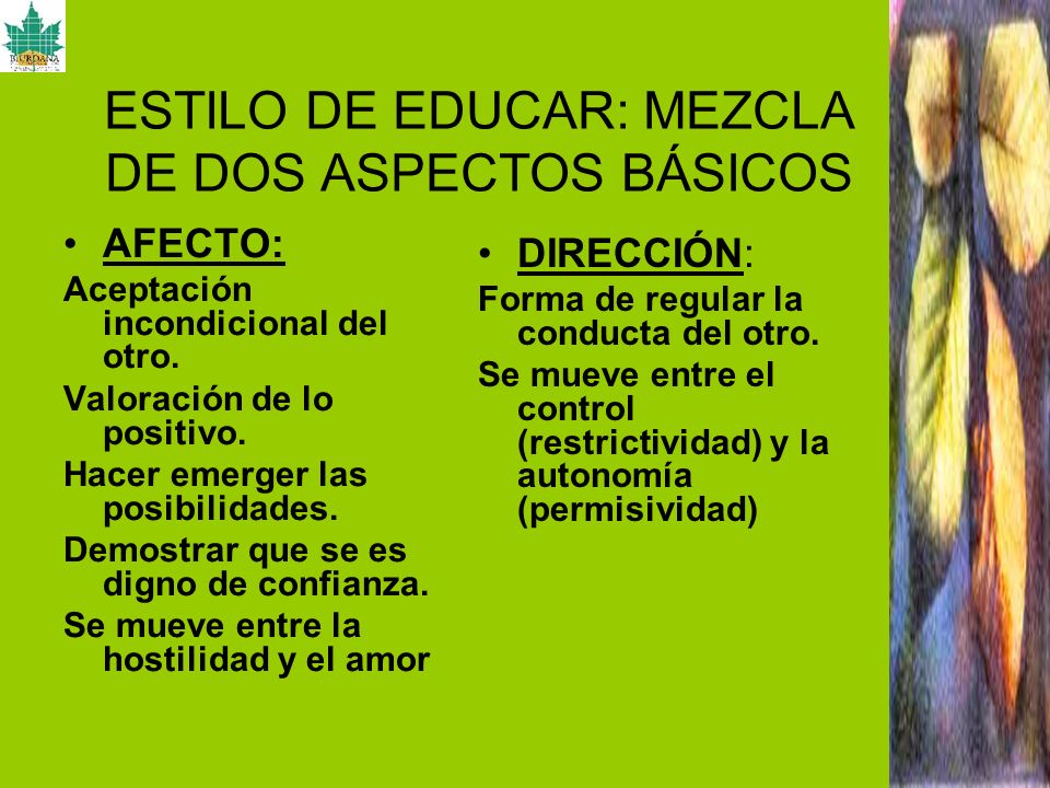 ESTILO DE EDUCAR: MEZCLA DE DOS ASPECTOS BÁSICOS AFECTO: Aceptación incondicional del otro. Valoración de lo positivo. Hacer emerger las posibilidades