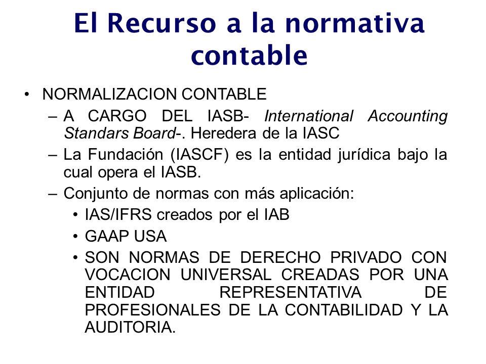El Recurso a la normativa contable NORMALIZACION CONTABLE –A CARGO DEL IASB- International Accounting Standars Board-. Heredera de la IASC –La Fundaci