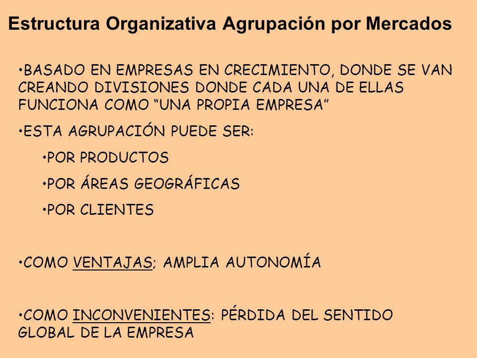 Estructura Organizativa Agrupación por Mercados BASADO EN EMPRESAS EN CRECIMIENTO, DONDE SE VAN CREANDO DIVISIONES DONDE CADA UNA DE ELLAS FUNCIONA CO