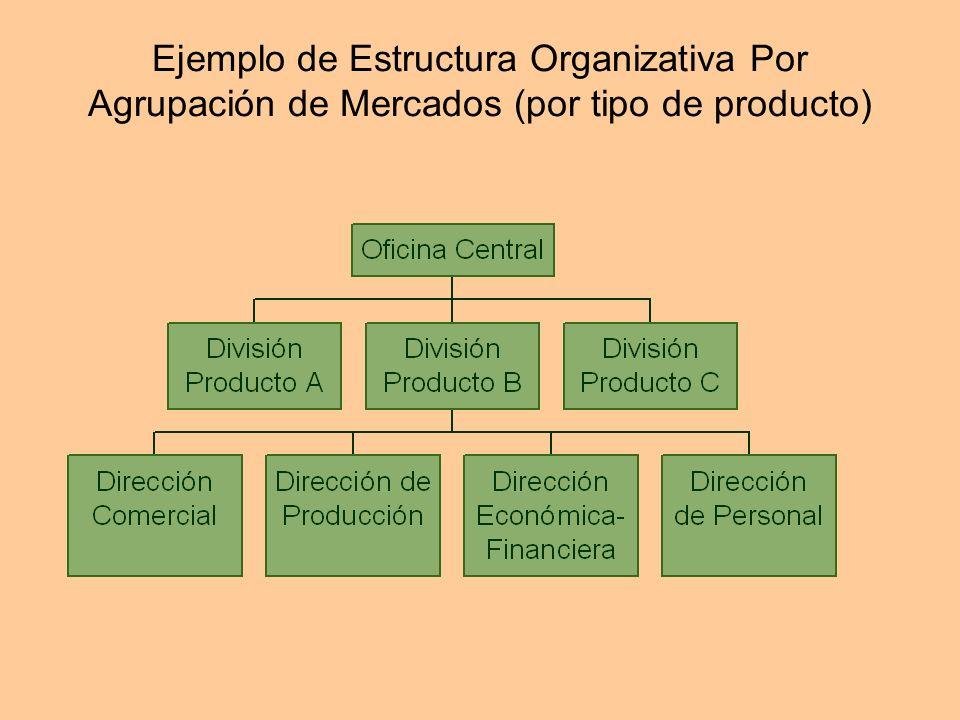 Ejemplo de Estructura Organizativa Por Agrupación de Mercados (por tipo de producto)