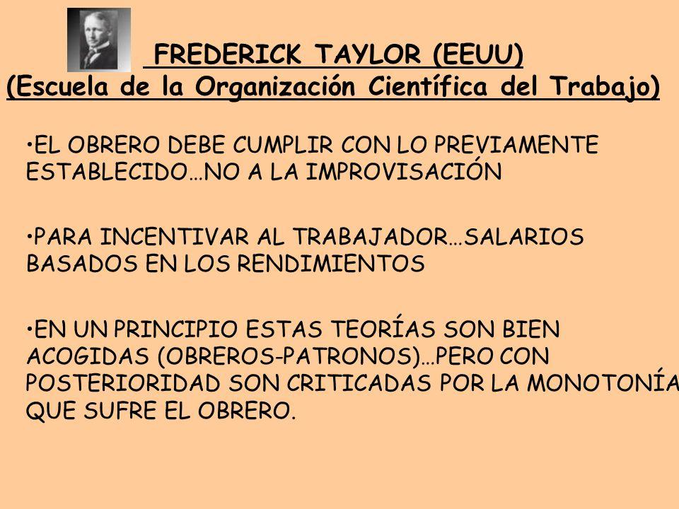 FREDERICK TAYLOR (EEUU) (Escuela de la Organización Científica del Trabajo) EL OBRERO DEBE CUMPLIR CON LO PREVIAMENTE ESTABLECIDO…NO A LA IMPROVISACIÓ