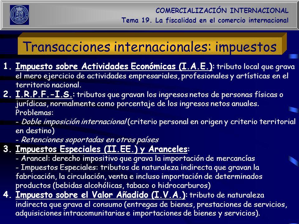 COMERCIALIZACIÓN INTERNACIONAL Tema 19. La fiscalidad en el comercio internacional Transacciones internacionales: impuestos 1.Impuesto sobre Actividad